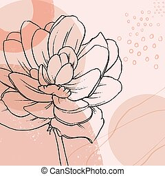 Vector floral background with hand drawn lotus.