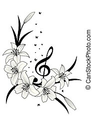 lily, treble clef and butterflies