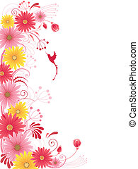 floral background with red flowers
