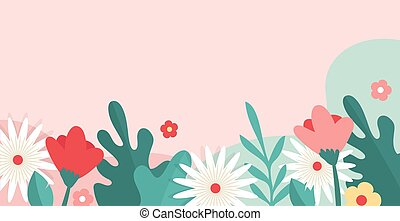 Vector floral backgrounds with copy space for text - banners, posters, cover design templates, social media stories wallpapers and greeting cards. Vector design
