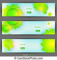 Vector floral banner set