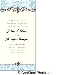 Vector Floral Blue Frame and Ornaments