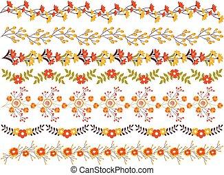 Vector Floral Border Set. Vector Floral Autumn Borders.