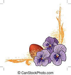 border with violet pansies and egg - vector floral border ...