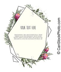 Vector floral botanical card design with leaves with geometrical frame. Protea Flower bouquet.