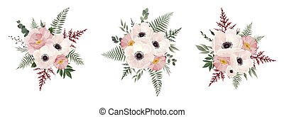 Vector floral bouquet design anemone, Eucalyptus branch . Wedding vector invite card Watercolor designer element set
