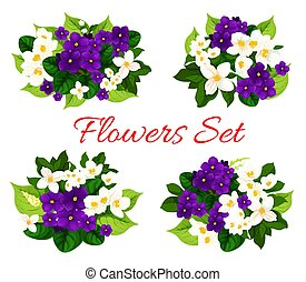 Vector floral bouquets of blooming flowers