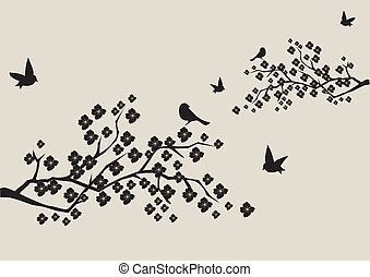 floral branch - vector floral branches with birds