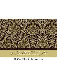 Vector illustration. Floral damask card with space for text