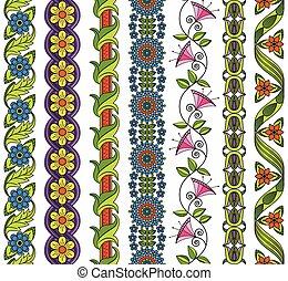 vector, floral, conjunto, e, elementos