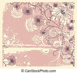 Vector floral decoration .Vintage flowers background