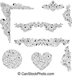 Vector Floral decorative Elements