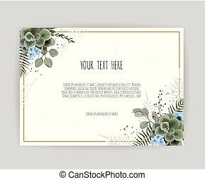 Vector floral design card. Greeting, postcard wedding invite template. Elegant frame with green leaves herbs in watercolor style