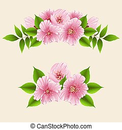 Vector floral design element for page decoration. Flowers with leaves. On the light background. Elegant cherry blossom flower composition. Volumetric sakura flowers.