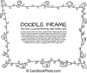 Vector Floral Doodle Hand Drawn Cute Frame, Black Outline Border Isolated.