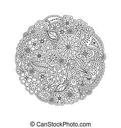 vector, floral, doodle, ronde, kleuren, pagina, boek, voor, volwassenen