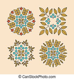 Vector Floral Elements. Vector Printing for Natural Products. Linear Style. Abstract vector illustration.