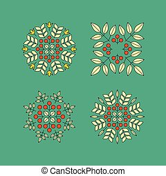 Vector Floral Elements. Vector Printing for Natural Products. Linear Style.