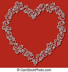 Vector floral frame in the shape of hearts on a red background