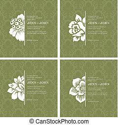 vector, floral, frame, set, versieringen