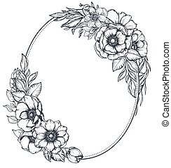 Vector floral frame with bouquets of hand drawn anemone flowers