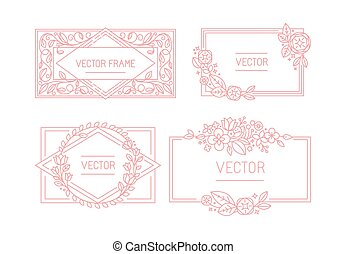 Vector floral frame with copy space for text in trendy mono ...