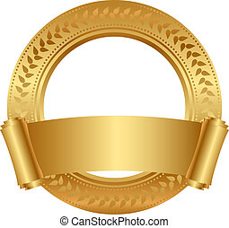 frame with gold scroll - Vector floral frame with gold...