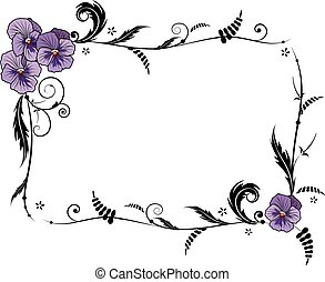 frame with viola flowers - vector floral frame with viola ...