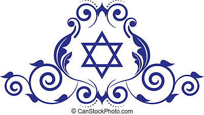 floral icon with star of David - Vector floral icon with ...