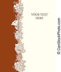 vector, floral, invitación, tarjeta, mano, dibujado, flores retro, y, hojas, en, círculo