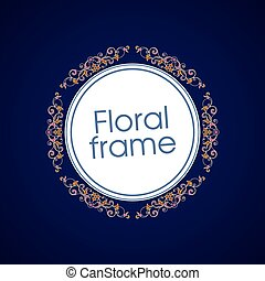 Vector floral linear style frame - art deco border for text. Title and page decoration