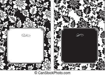 vector, floral, marco, conjunto