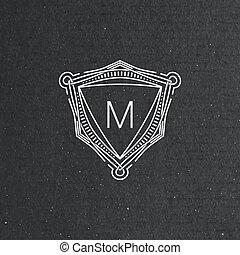 vector floral monogram. art-deco frame. line art element for...