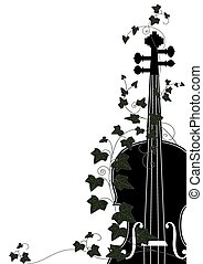 violin end ivy - Vector floral musical composition with ...