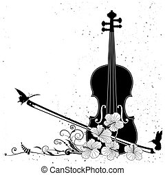 Vector floral musical composition with violin in black and ...