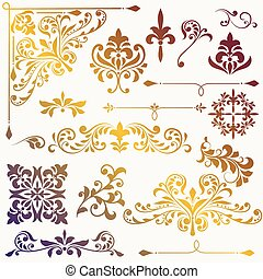 vector, floral onderdelen, ontwerp, ouderwetse