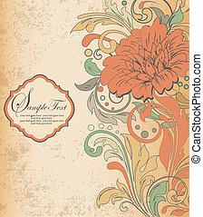 vector floral orange background