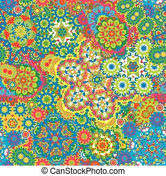 Vector floral paisley seamless pattern. Seamless pattern with mehendi elements. Colorful blue orange red yellow wallpaper background.
