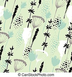 Vector floral pattern in hand drawn style with flowers and grass