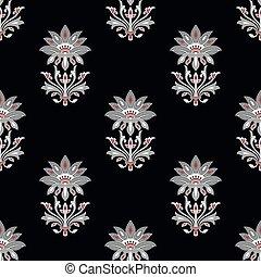 Vector floral pattern on black background