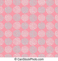 Vector floral pattern with beautiful blue circle flowers, made of petals on pink background.