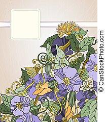 vector, floral, plano de fondo, mano, dibujado, flores retro, y, hojas