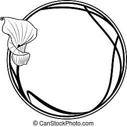 vector floral round frame with lily in black and white colors