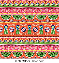 Vector floral seamless folk art pattern - Indian truck art floral, Pakistani Jingle trucks vector design,  vivid ornament with lotus flowers and abstract shapes