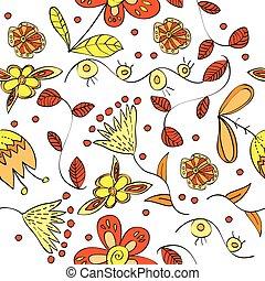 vector, floral, seamless, patrón