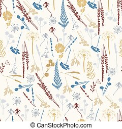 seamless pattern with wild flowers, fern, leaves, lavender and meadow herbs and grass