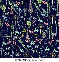 pattern with wild flowers, fern, leaves, lavender and meadow herbs