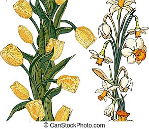 Vector floral seamless pattern with yellow tulips and daffodils . White background
