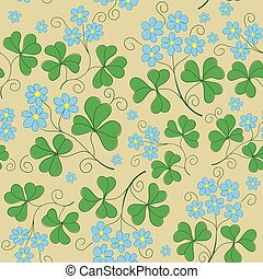 vector floral seamless texture with blue flowers