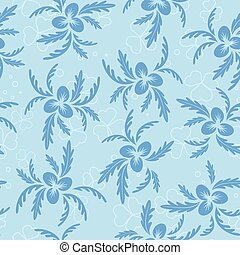 vector floral seamless texture with blue plants